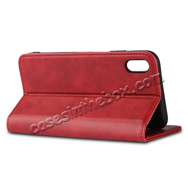 best price For iPhone XS Max Leather Flip Magnetic Wallet Card Stand Case Cover - Red