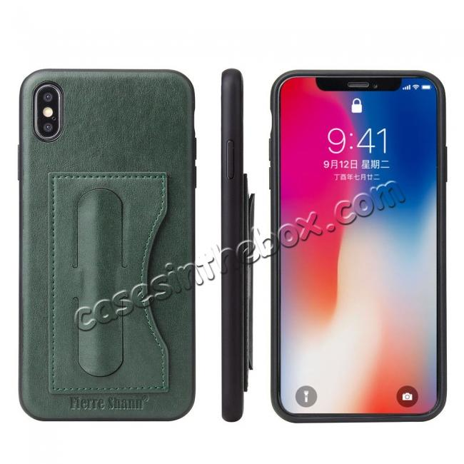 wholesale For iPhone XS Max Leather Wallet Case Card Holder Back Stand Cover - Green