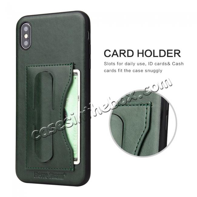 best price For iPhone XS Max Leather Wallet Case Card Holder Back Stand Cover - Green