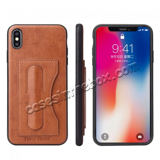 wholesale For iPhone XS Max Leather Wallet Case Card Holder Back Stand Cover - Brown