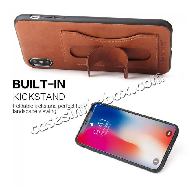 cheap For iPhone XS Max Leather Wallet Case Card Holder Back Stand Cover - Brown