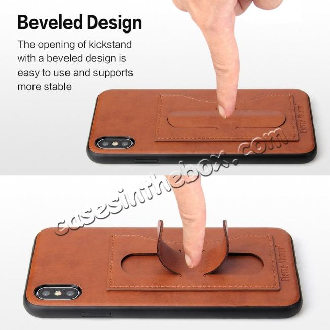 top quality For iPhone XS Max Leather Wallet Case Card Holder Back Stand Cover - Brown