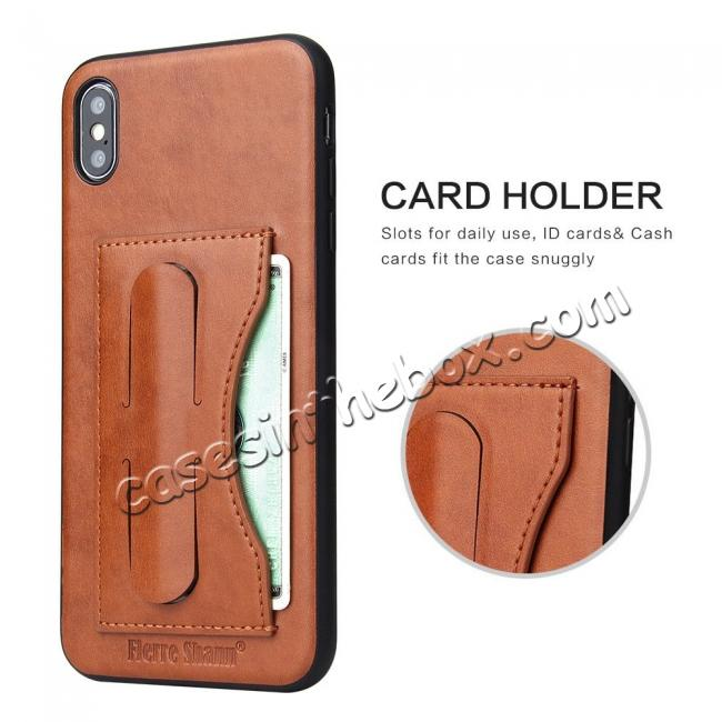 best price For iPhone XS Max Leather Wallet Case Card Holder Back Stand Cover - Brown