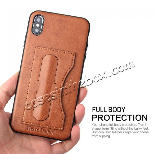 low price For iPhone XS Max Leather Wallet Case Card Holder Back Stand Cover - Brown
