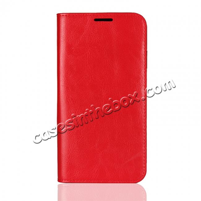 discount For iPhone XS Max Leather Wallet Stand Case Card Slot Shockproof Flip Cover - Red