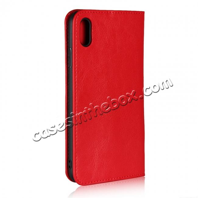 cheap For iPhone XS Max Leather Wallet Stand Case Card Slot Shockproof Flip Cover - Red
