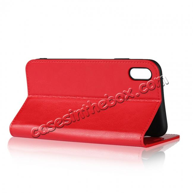 best price For iPhone XS Max Leather Wallet Stand Case Card Slot Shockproof Flip Cover - Red