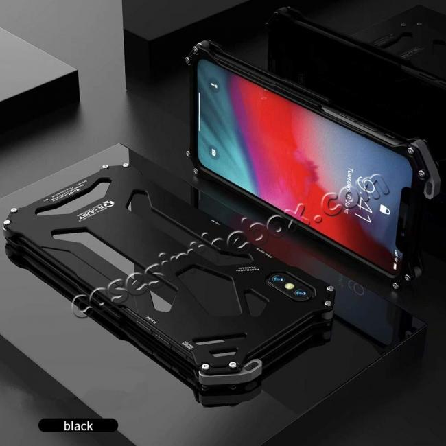 discount For iPhone XS Max R-JUST Heavy Duty Metal Aluminum Armor Silicone Case Cover - Black
