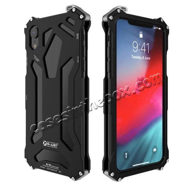 wholesale For iPhone XS Max R-JUST Heavy Duty Metal Aluminum Armor Silicone Case Cover - Black