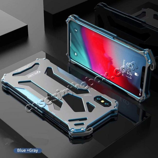 discount For iPhone XS Max R-JUST Heavy Duty Metal Aluminum Armor Silicone Case Cover - Blue
