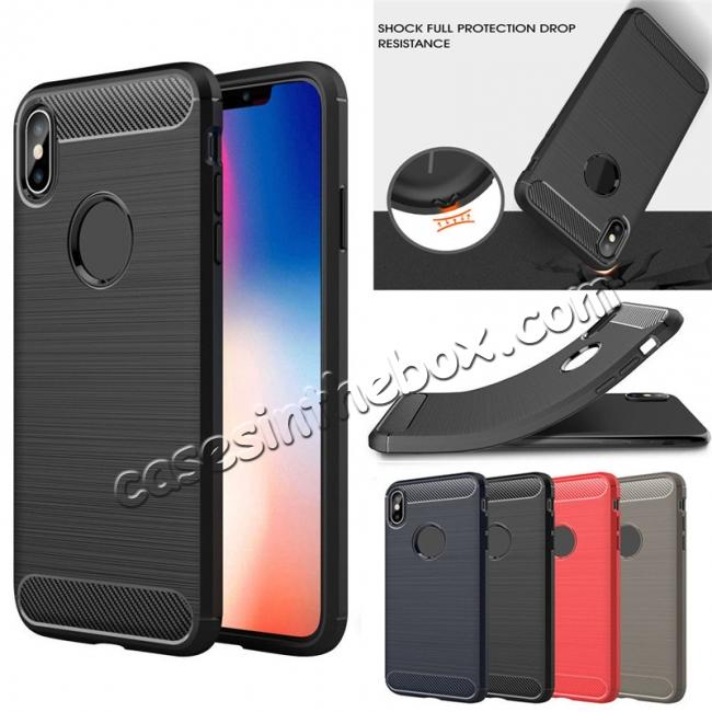 wholesale For iPhone XS Max Shockproof Soft TPU Carbon Fiber Phone Case
