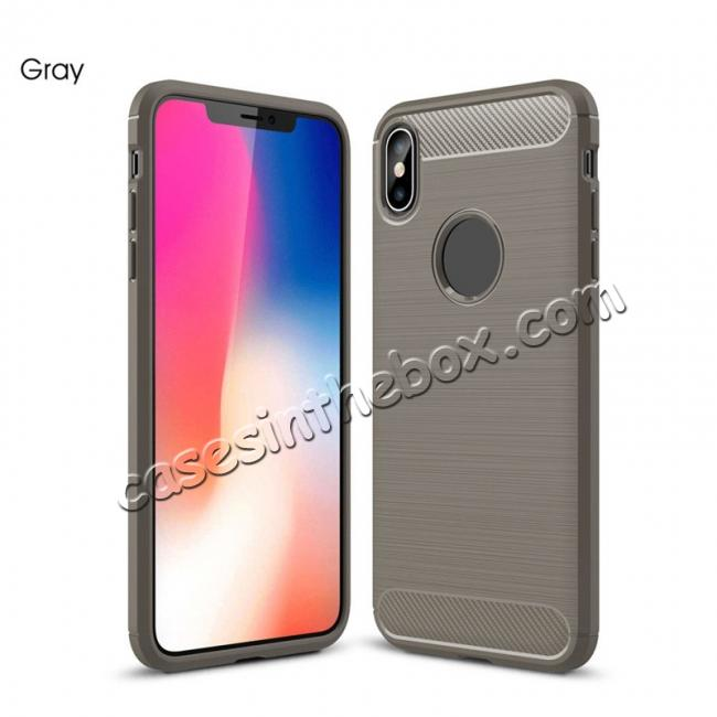 cheap For iPhone XS Max Shockproof Soft TPU Carbon Fiber Phone Case
