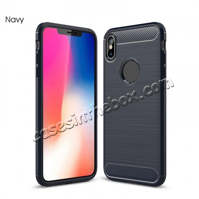 top quality For iPhone XS Max Shockproof Soft TPU Carbon Fiber Phone Case