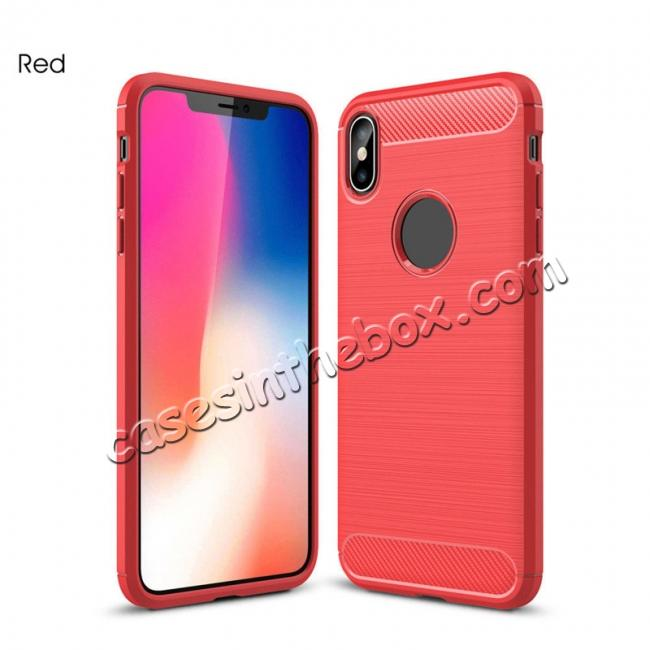 best price For iPhone XS Max Shockproof Soft TPU Carbon Fiber Phone Case