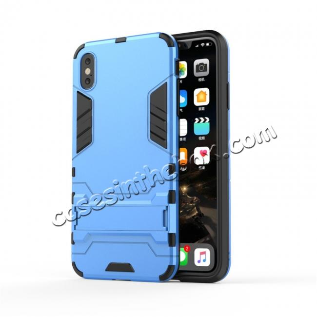 discount For iPhone XS Max XR XS Hybrid Heavy Armor Rugged Kickstand Hard Case Cover - Blue