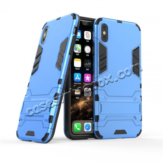 cheap For iPhone XS Max XR XS Hybrid Heavy Armor Rugged Kickstand Hard Case Cover - Blue
