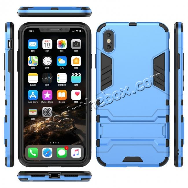 wholesale For iPhone XS Max XR XS Hybrid Heavy Armor Rugged Kickstand Hard Case Cover - Blue