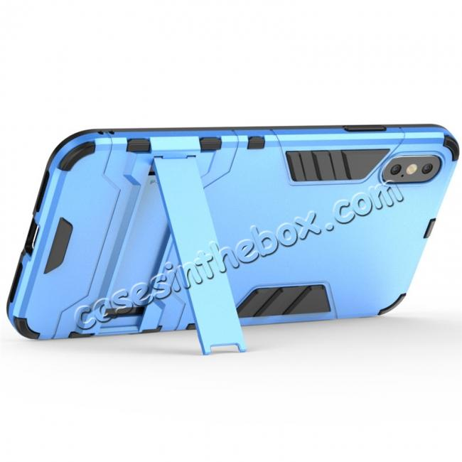 best price For iPhone XS Max XR XS Hybrid Heavy Armor Rugged Kickstand Hard Case Cover - Blue