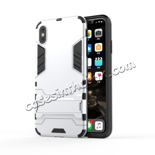 discount For iPhone XS Max XR XS Hybrid Heavy Armor Rugged Kickstand Hard Case Cover - Silver