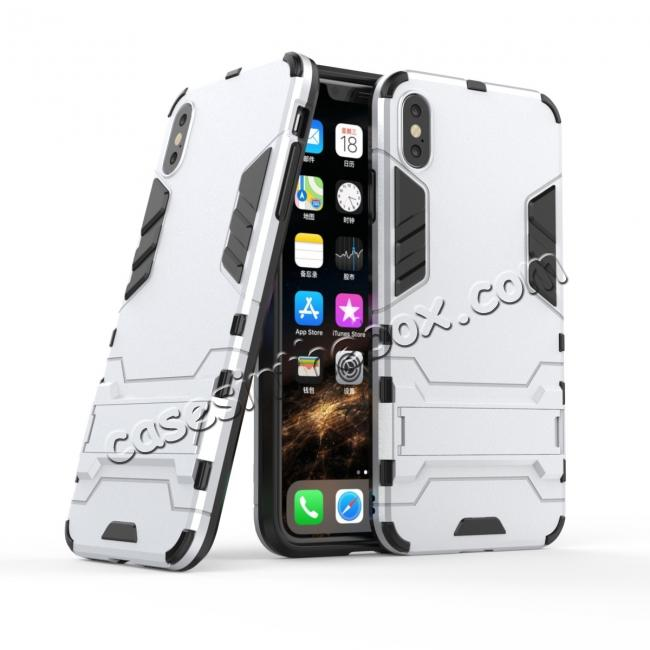 cheap For iPhone XS Max XR XS Hybrid Heavy Armor Rugged Kickstand Hard Case Cover - Silver