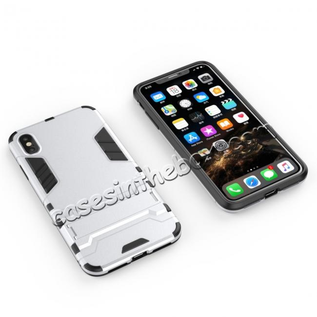 top quality For iPhone XS Max XR XS Hybrid Heavy Armor Rugged Kickstand Hard Case Cover - Silver