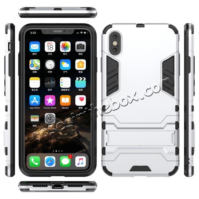 wholesale For iPhone XS Max XR XS Hybrid Heavy Armor Rugged Kickstand Hard Case Cover - Silver