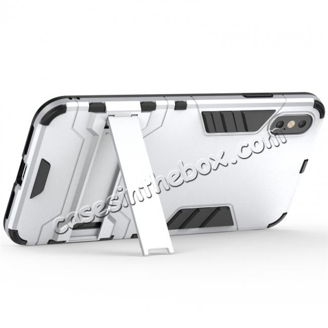 best price For iPhone XS Max XR XS Hybrid Heavy Armor Rugged Kickstand Hard Case Cover - Silver
