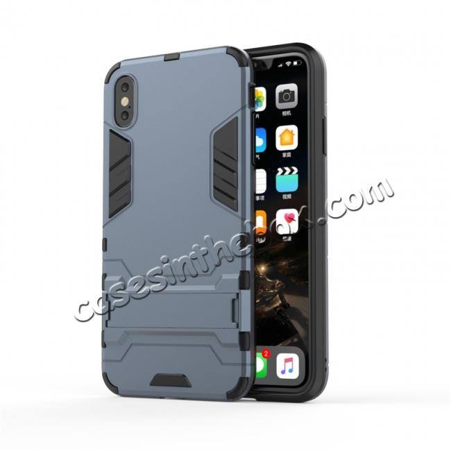 discount For iPhone XS Max XR XS Hybrid Heavy Armor Rugged Kickstand Hard Case Cover - Navy Blue