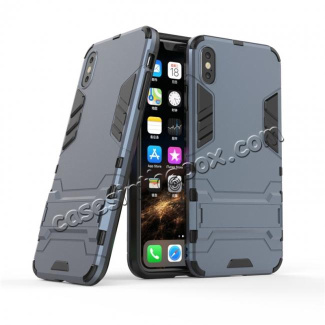 cheap For iPhone XS Max XR XS Hybrid Heavy Armor Rugged Kickstand Hard Case Cover - Navy Blue