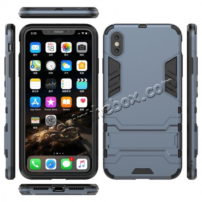 wholesale For iPhone XS Max XR XS Hybrid Heavy Armor Rugged Kickstand Hard Case Cover - Navy Blue