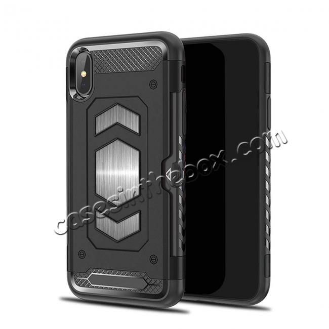wholesale For iPhone XS Max XR XS Slim Shockproof Magnetic Car Holder Back Cover Case - Black