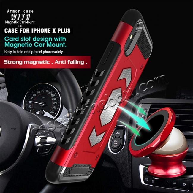 cheap For iPhone XS Max XR XS Slim Shockproof Magnetic Car Holder Back Cover Case - Black