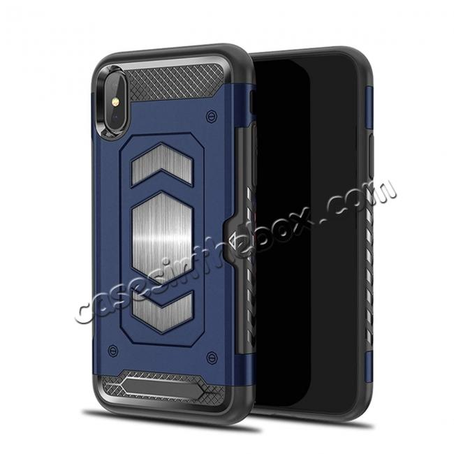 wholesale For iPhone XS Max XR XS Slim Shockproof Magnetic Car Holder Back Cover Case - Navy Blue
