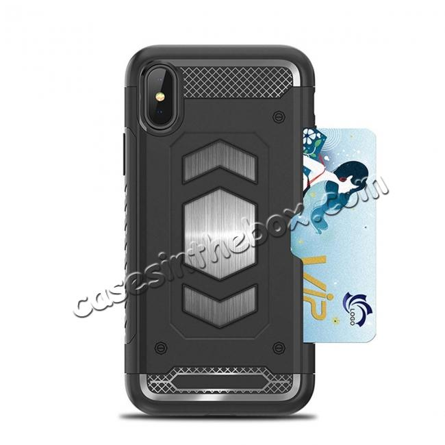 discount For iPhone XS Max XR XS Slim Shockproof Magnetic Car Holder Back Cover Case - Navy Blue