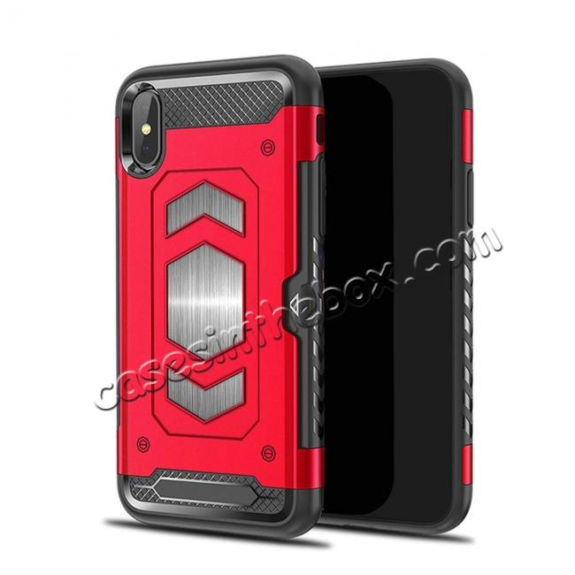 wholesale For iPhone XS Max XR XS Slim Shockproof Magnetic Car Holder Back Cover Case - Red