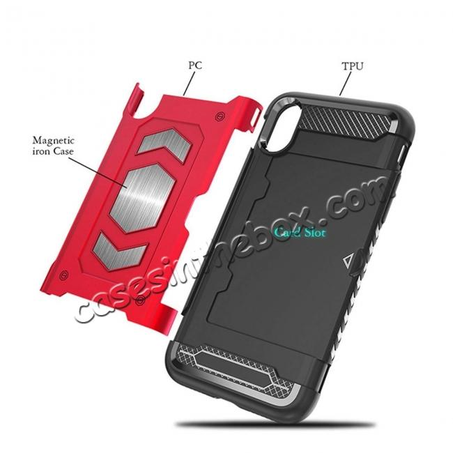 discount For iPhone XS Max XR XS Slim Shockproof Magnetic Car Holder Back Cover Case - Red
