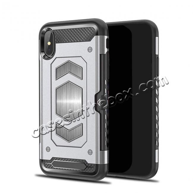 wholesale For iPhone XS Max XR XS Slim Shockproof Magnetic Car Holder Back Cover Case - Silver