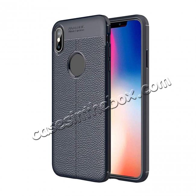 wholesale For iPhone XS Max Flexible TPU Slim Protective Back Cover Case - Navy Blue