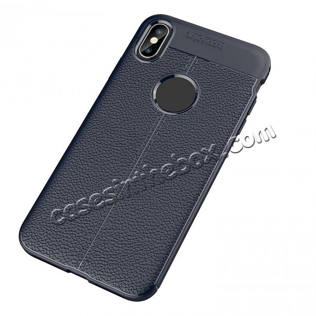 discount For iPhone XS Max Flexible TPU Slim Protective Back Cover Case - Navy Blue