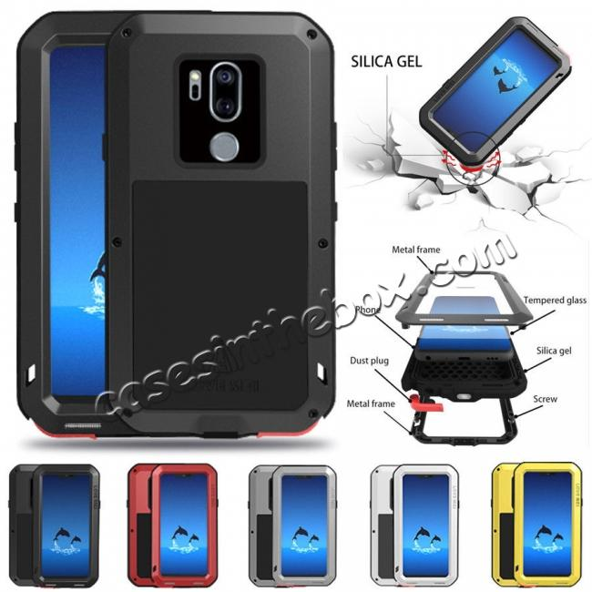 on sale For LG G7 ThinQ/LG G7 Plus ThinQ Shockproof Metal Cover Silicone Case with Screen Protector