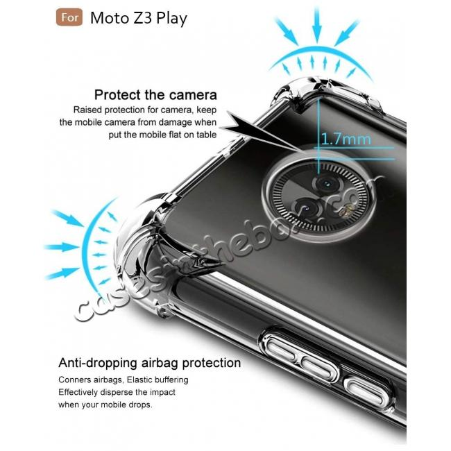 top quality For Motorola Moto Z3 Play Airbag Shockproof Clear Silicone Soft TPU Case