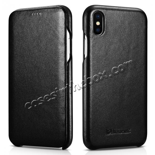 wholesale ICARER Curved Edge Luxury Genuine Leather Side Flip Case For iPhone XS Max - Black