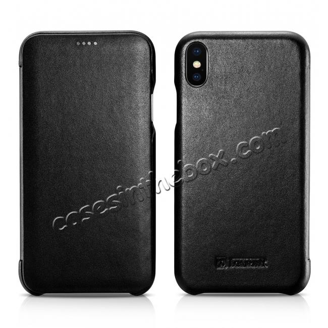 discount ICARER Curved Edge Luxury Genuine Leather Side Flip Case For iPhone XS Max - Black