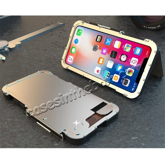 discount R-JUST Shockproof Aluminum Metal Flip Case Cover For iPhone XS Max - Silver