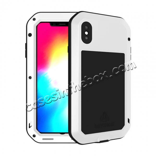 wholesale Waterproof Shockproof Metal Aluminum Gorilla Case for iPhone XS Max - White