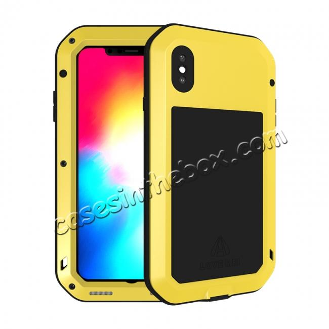 wholesale Waterproof Shockproof Metal Aluminum Gorilla Case for iPhone XS Max - Yellow
