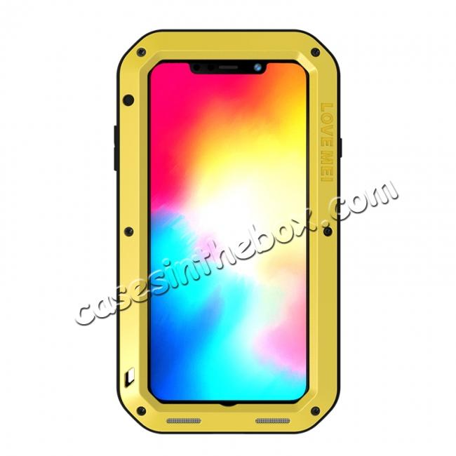 discount Waterproof Shockproof Metal Aluminum Gorilla Case for iPhone XS Max - Yellow