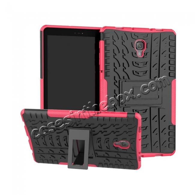 wholesale Dual Layer Protection Shockproof Cover Hybrid Rugged Case with Kickstand for Samsung Galaxy Tab A 10.5 [SM-T590/SM-T595] - Hot Pink