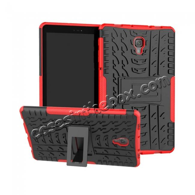 wholesale Dual Layer Protection Shockproof Cover Hybrid Rugged Case with Kickstand for Samsung Galaxy Tab A 10.5 [SM-T590/SM-T595] - Red