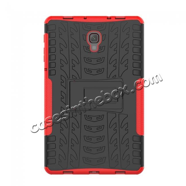 best price Dual Layer Protection Shockproof Cover Hybrid Rugged Case with Kickstand for Samsung Galaxy Tab A 10.5 [SM-T590/SM-T595] - Red